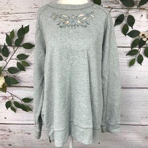 Soft Surroundings Size L Mint Lace Cut Zipper